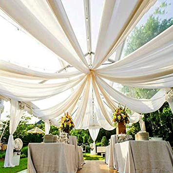 Ak Trading Co 120 Wide 10ft Wide Voile Ceiling Drapes Sheer Curtain Panels With 4 Pocket For Wedding Venues Banquet Halls Corporate Events