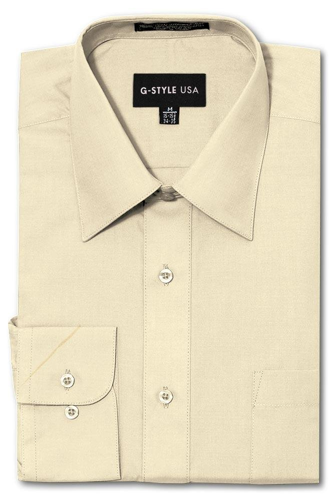 G-Style USA Men's Regular Fit Long Sleeve Solid Color Dress Shirts - Ivory - 3X-Large - 36-37