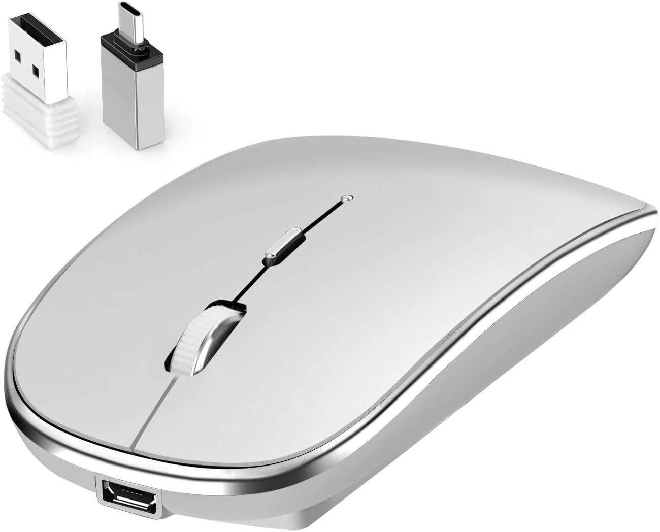 MacBook Leolee Rat/ón Inal/ámbrico con Tipo C 2.4G USB Delgado Silencioso Port/átil /óptico S/ólabis Ratones Inal/ámbricos con Nano dpi Rat/ón,Home/&Office para PC Ordenador Port/átil Gris