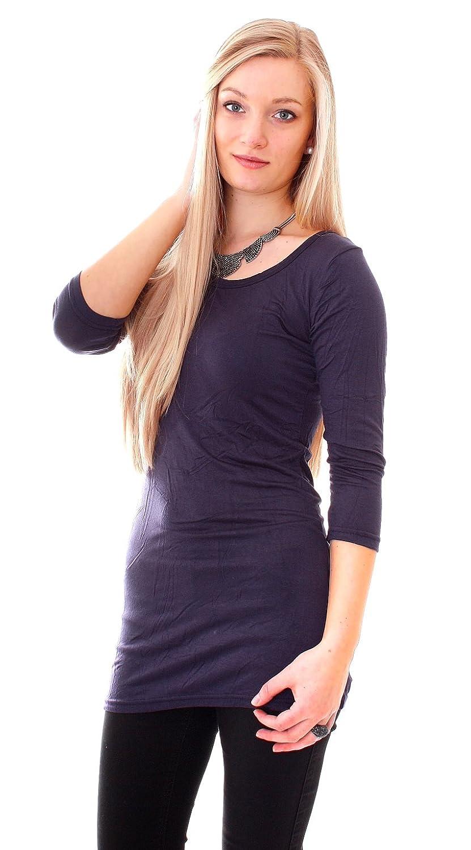 Damen Basic Long Sleeve Shirt 3/4-Arm mit Rundhalsausschnitt