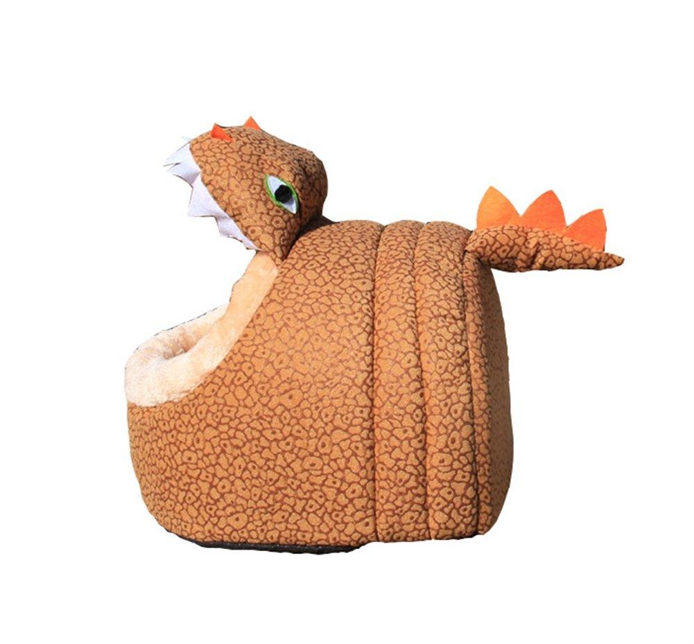 L Vedem Pet Dog Cat Cozy Fleece Cave House Bed (Dinosaur, L)