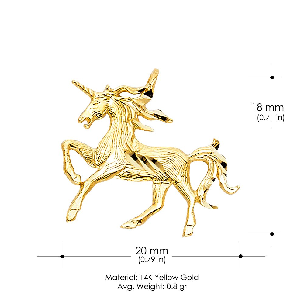 14K Yellow Gold Unicorn Charm Pendant with 0.8mm Box Chain Necklace