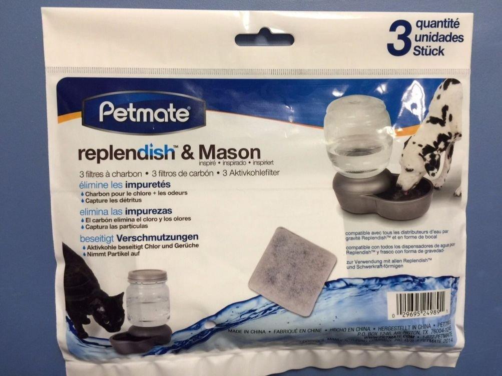 Amazon.com : 3 Pack Replendish & Mason Charcoal Replacement Filters Pet Dog Waterer : Pet Supplies