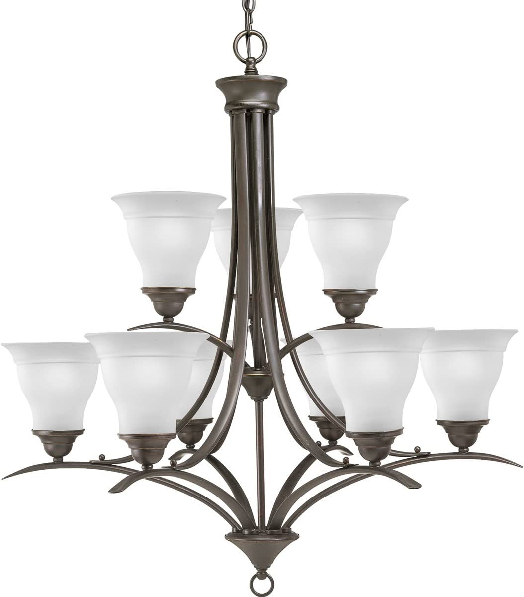 Progress Lighting P4329-20 9-Light Trinity Chandelier, Antique Bronze