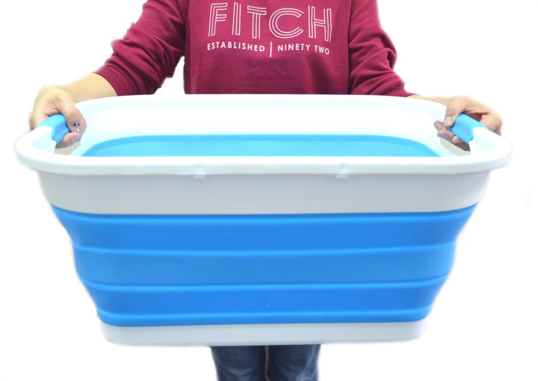 SAMMART klappbar Kunststoff Wäschekorb–Faltbar Pop up Container/Organizer–Portable Waschanleitung Badewanne–platzsparend Körbe/Korbdekoration Grau