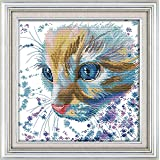 CaptainCrafts New Cross Stitch Kits Patterns Embroidery Kit - Watercolor Cat (STAMPED)