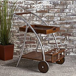 Christopher Knight Home Clover Farmhouse Cottage Rustic Acacia Wood Bar Cart, Brown/Silver