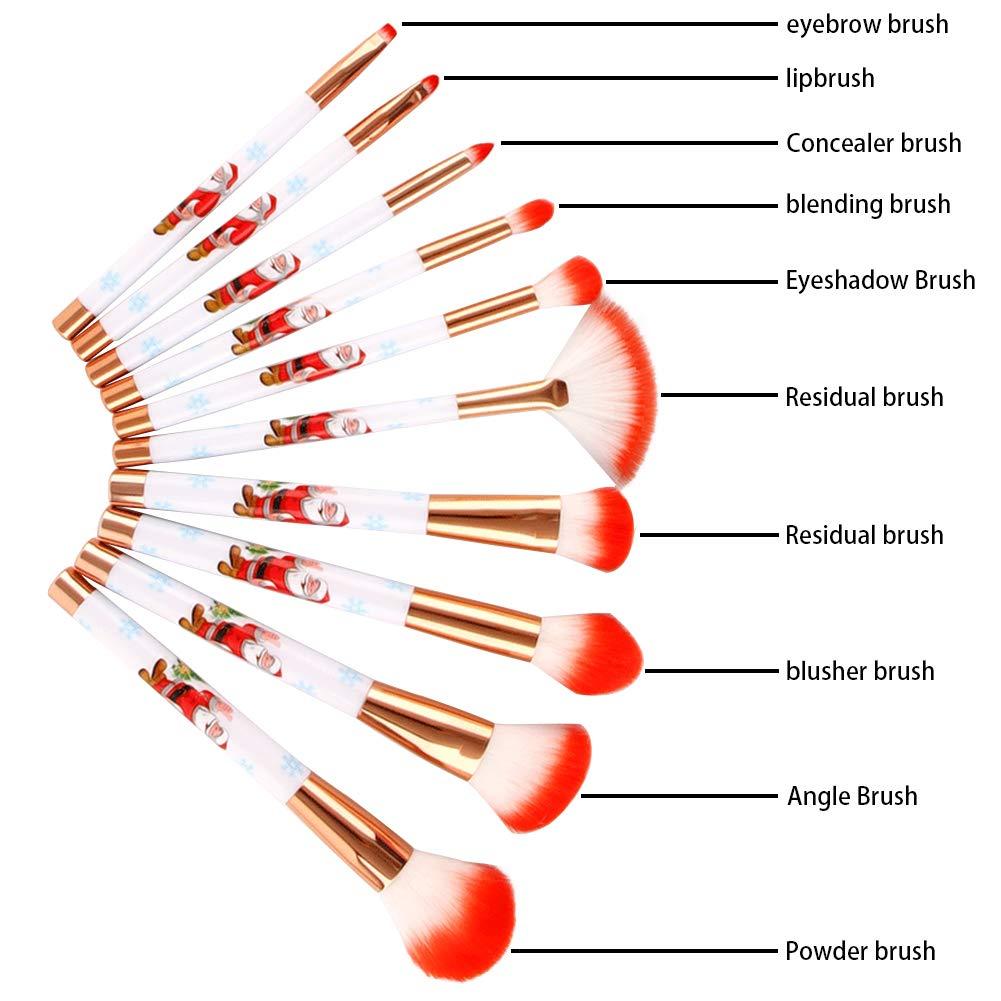 Christmas Makeup Brush Set, 10Pcs Premium Synthetic Kabuki Professional Foundation Blending Blush Eyeshadow Face Powder Cosmetic Brush Kit, Red