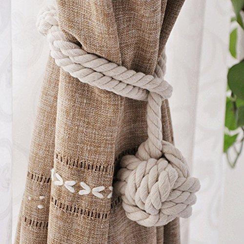 Yeexue American Hand Knitting Curtain Rope Tiebacks Rural Cotton Tie (One Pair, Beige)