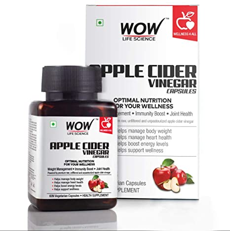 Buy WOW Raw Apple Cider Vinegar 500mg - 60 Vegetarian Capsules