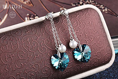 ❤Gift Packing❤ Crystal from Swarovski, Heart Earrings Tassels Pearls Eardrop Dangle Style Earrings, Birthday Birthstone Gifts for Women, Graduation Gifts by PLATO H (Image #1)