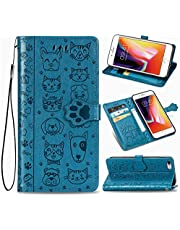 """EnjoyCase Funny Cartoon Embossing Cat Dog Pattern Pu Leather Cat Paw Magnetic Closure Lanyard Standfunction Card Slots Wallet Flip Case Cover for iPhone 6S Plus/6 Plus 5.5"""""""