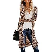 Kaimu Women Casual Long Sleeve Cardigan Tops Printed Loose Outwear Trenchcoats