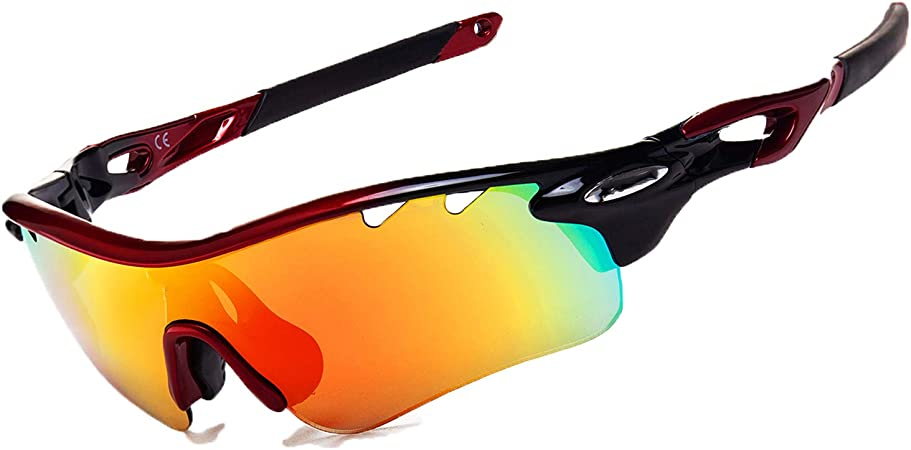 JOGVELO Polarized Sports Sunglasses,Cycling Glasses Men Anti-Fogging UV400 with 5 Interchangeable Lenes for Running Driving Baseball