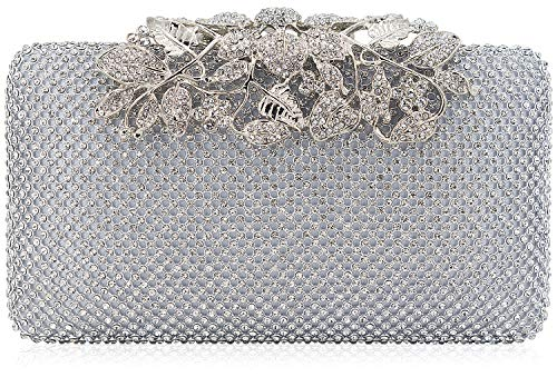 Dexmay Womens Evening Bag with Flower clasp Wedding Handbag Rhinestone Crystal Clutch Purse Silver