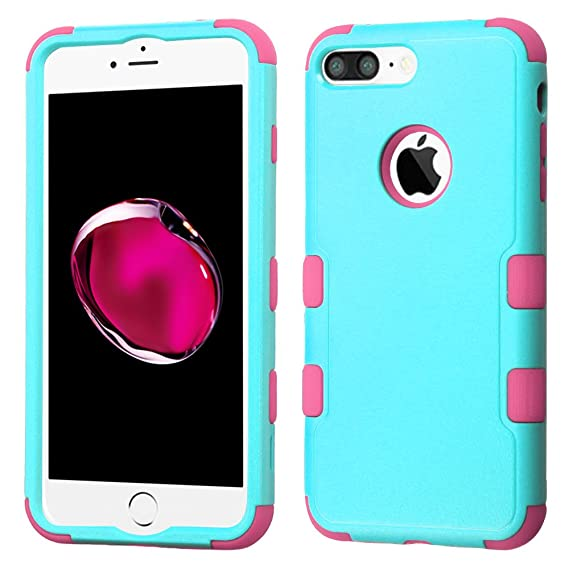 MyBat Cell Case for iPhone 7 Plus - Natural Teal Green/Electric Pink