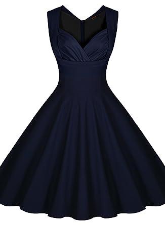 Miusol Women&-39-s Cut Out V-Neck Vintage Casual Retro Dress at Amazon ...