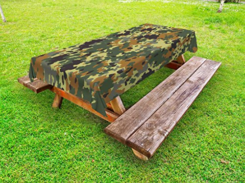 (Ambesonne Camo Outdoor Tablecloth, Classical Germany Camouflage Pattern Forest Jungle Military Colors, Decorative Washable Picnic Table Cloth, 58 X 104 Inches, Dark Green Pale Green Brown)