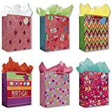 Birthday Party Gift Bags Set of 6 Large Birthday Gift Bags W/ Flowers, Elephants, Cup Cakes, Presents, Owls, Tags, and Tissue Paper for Women, Girls, and Baby Girl