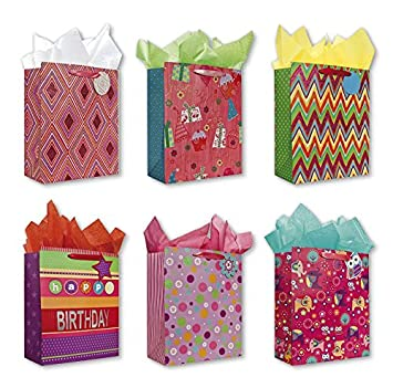 Birthday Party Gift Bags Set Of 6 Large W Flowers Elephants