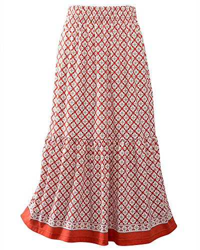 Skirt Tiered Knit (UltraSofts Printed Tiered Skirt, Sienna, Petite XL)
