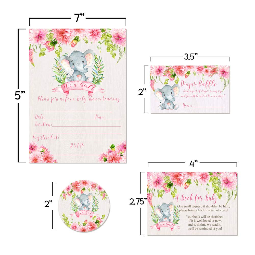 Deluxe Watercolor Floral Elephant Baby Shower Party Bundle for Girls, Includes 20 each of 5''x7'' Fill In Invitations, Diaper Raffle Tickets, Bring a Book Cards, 2'' Thank You Favor Stickers w/ Envelopes by Amanda Creation (Image #6)