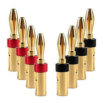 8 Conectores Banana chapados en Oro DE 24 Quilates para Altavoces y receptores AV amplificadores de