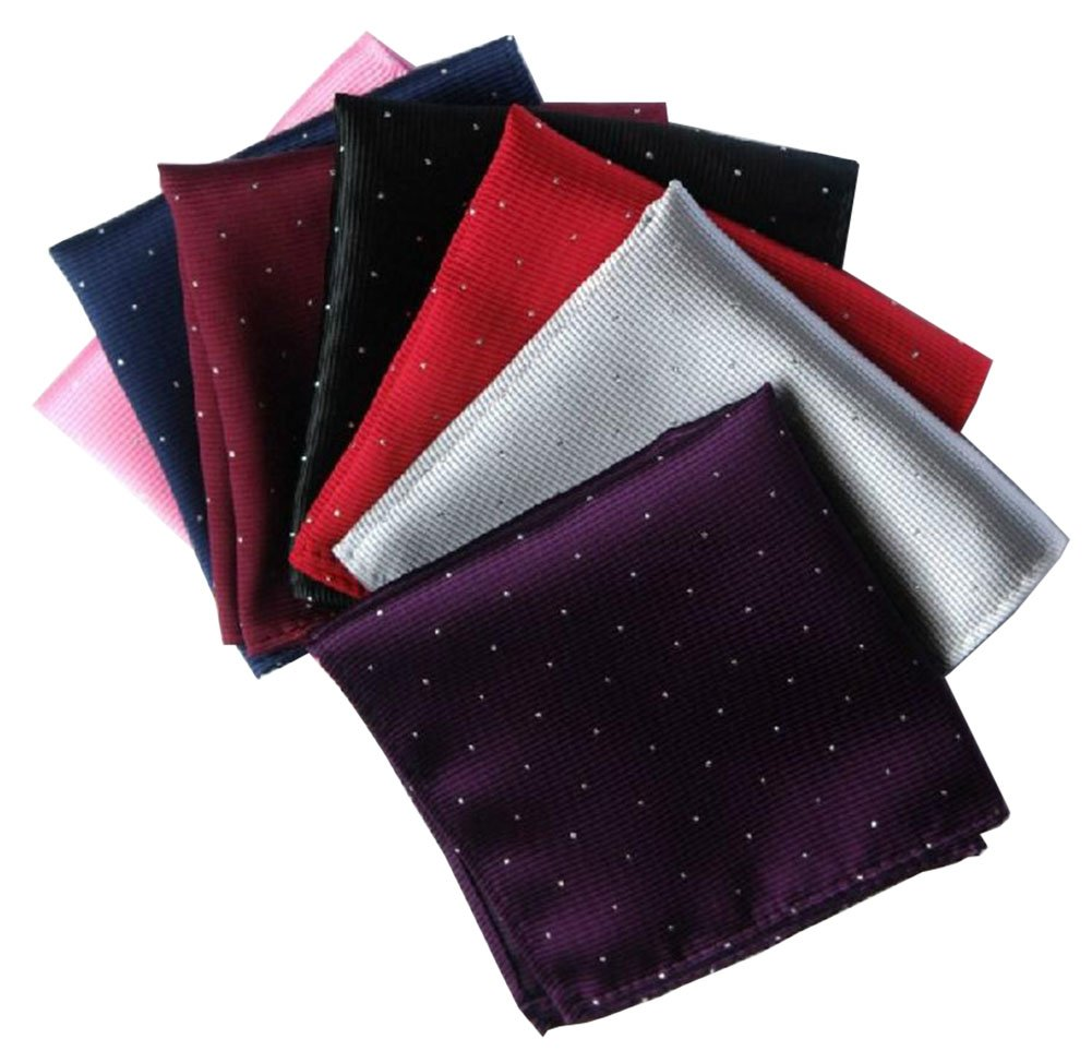 Driew Pack of 7 Men Pocket Square Satin Handkerchief Hanky with Polka Dot Pattern