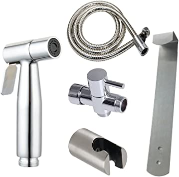 Stainless Steel Hand Held Bidet Sprayer Set With T Adapter Valve Hose And Bracket Holder Toilet Attachment Brushed Nickel Bidets Amazon Canada