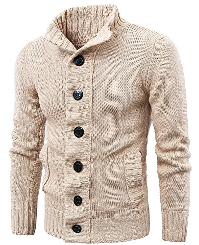MIEDEON Button Point Stand Collar Knitted Slim Fit Cardigan Sweater (XL, Beige1)