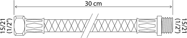 1//2 - Longueur 100 cm DN10 SOMATHERM FOR YOU- Flexible sanitaire raccordement droit M/âle 15//21 1//2 - /écrou tournant droit Femelle 15//21