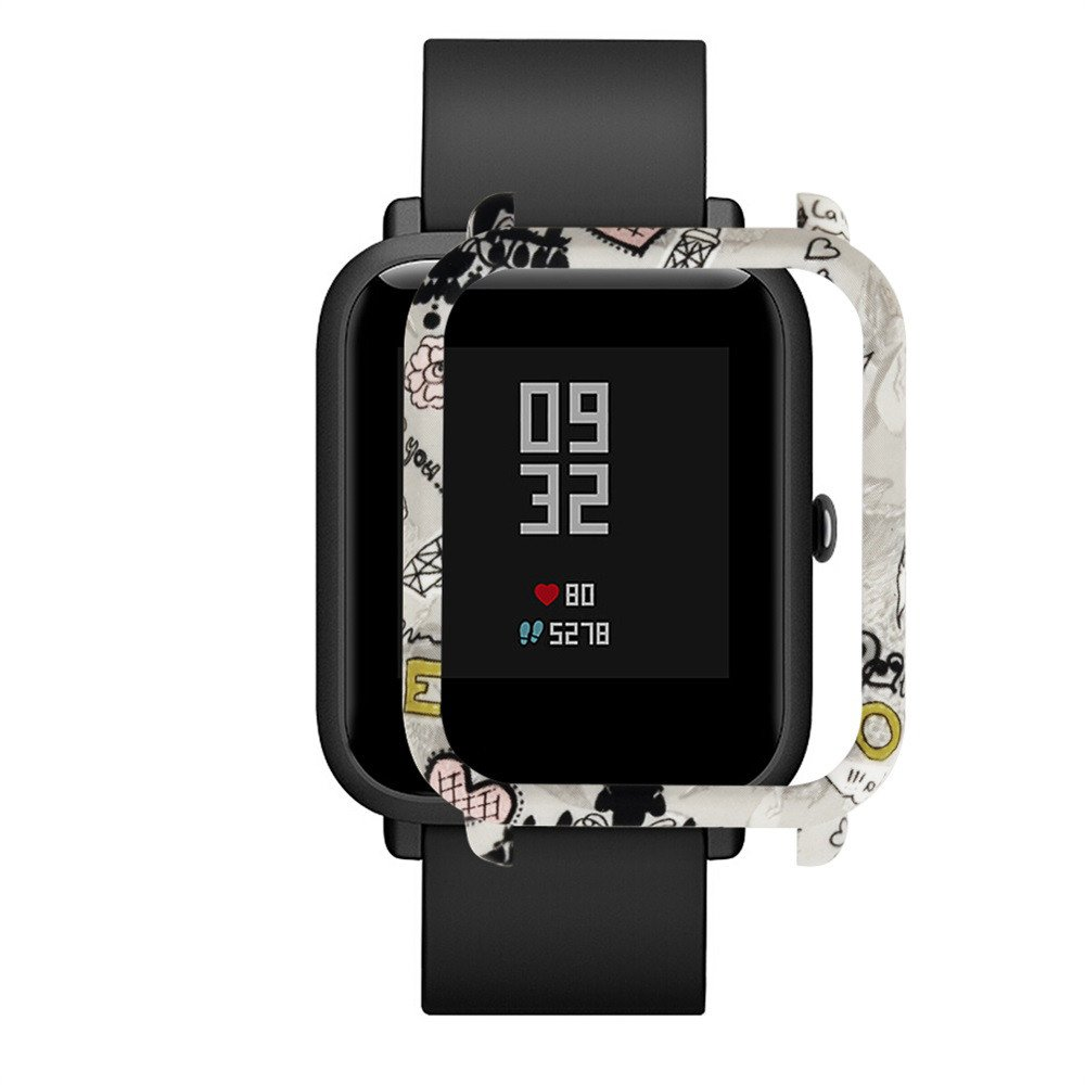 ❤️Jonerytime❤️Fashion Pattern Slim Colorful Frame PC Case Cover Protect Shell for Huami Amazfit Bip Younth Watch. (E)