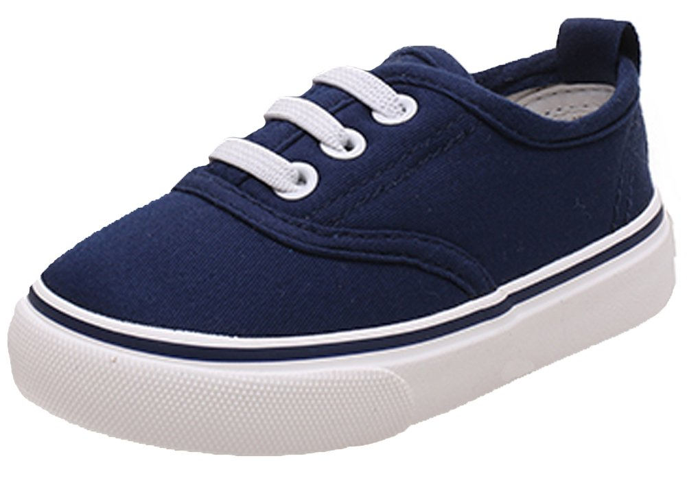 iDuoDuo Classic Kids Comfort Casual Elastic Slip On Low Top Sneaker Shoes Blue 1.5 M US Little Kid