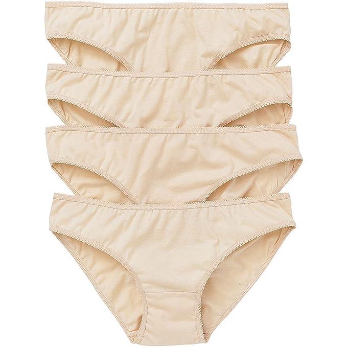 7284b4c329 Just Essentials Ladies 4 Pack Cotton Plain White Black Nude Bikini Mini  Briefs  Amazon.co.uk  Clothing