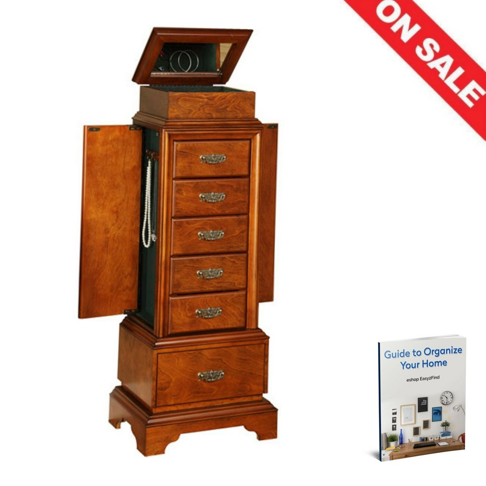 ATS Mid Century Modern Jewelry Armoire Luxury Cabinet Drawers Swing Doors Antique Flip Top Mirror Indoor Bedroom Vanity Storage Furniture & Ebook by Easy2Find by ATS