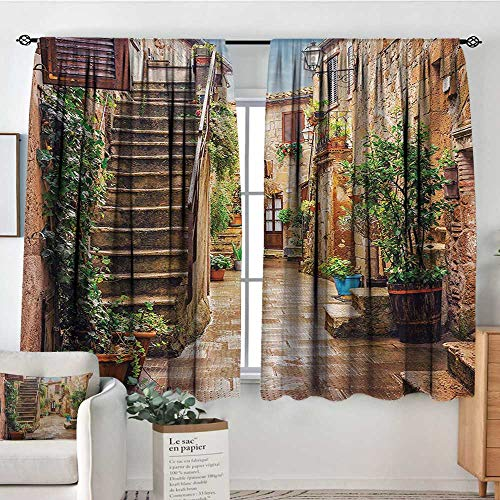 Italian Room Darkening Curtains View of Old Mediterranean Street with Stone Rock Houses in Italian City Rural Print Patterned Drape for Glass Door 63