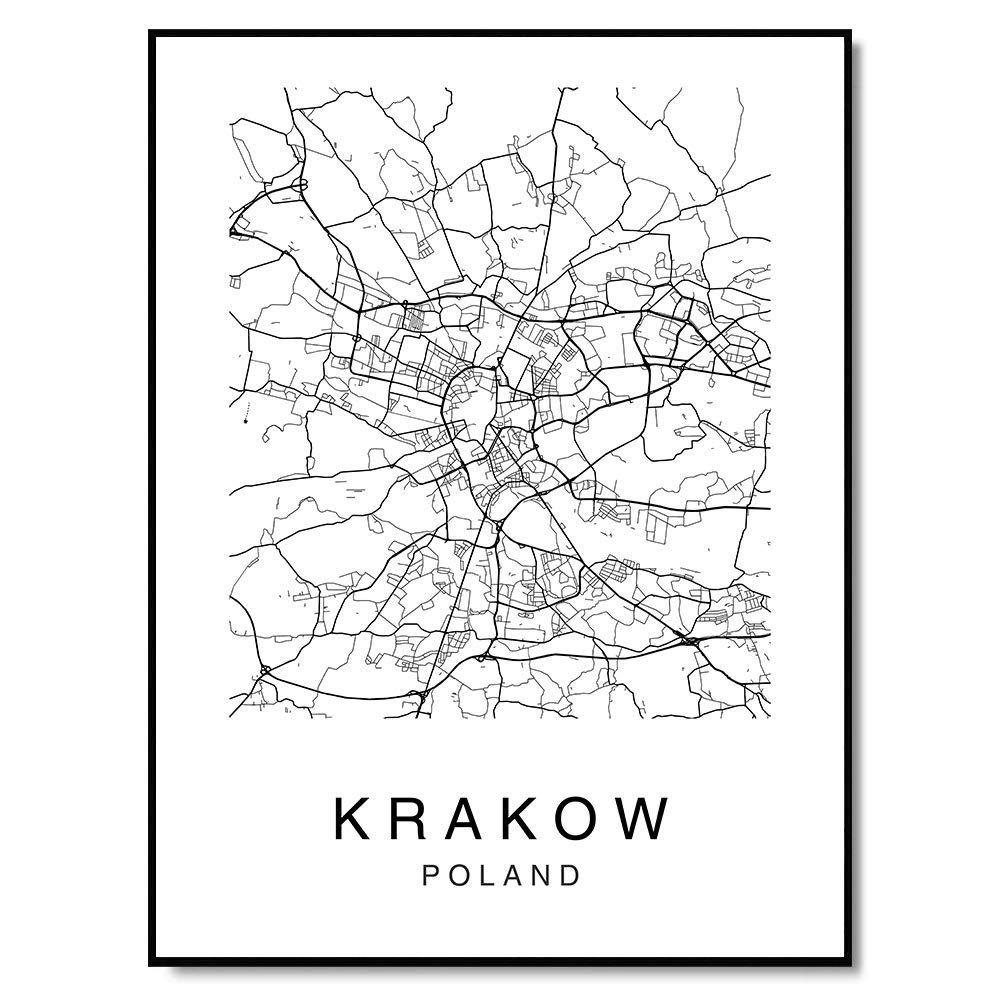 Map Of Krakow Map Wall Art Krakow Map Print Krakow City Map Poland Map Print Krakow Map Poster Custom Map Print