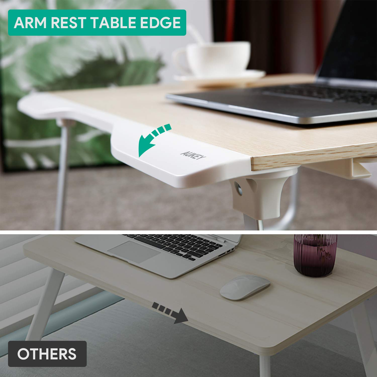 AUKEY Laptop Bed Table (Large Size) Foldable Portable Laptop Stand with Aluminum Alloy Legs, Book Stand and Drawer for Reading, Writing, and Working by AUKEY (Image #2)