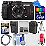 Olympus Tough TG-5 4K Wi-Fi GPS Shock & Waterproof Digital Camera (Black) with 64GB Card + Case + Battery & Charger + Tripod + Float Strap + DigitalAndMore Bundle/Kit