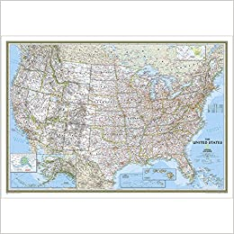 Political Map Of Usa 2015.Usa Classic Political Map Laminated By National Geographic Maps