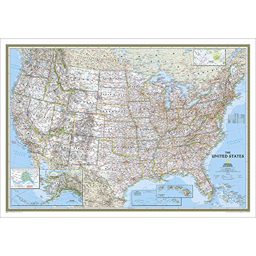 USA Classic Political Map Laminated by National Geographic Maps - Reference - Garden City Map Mall