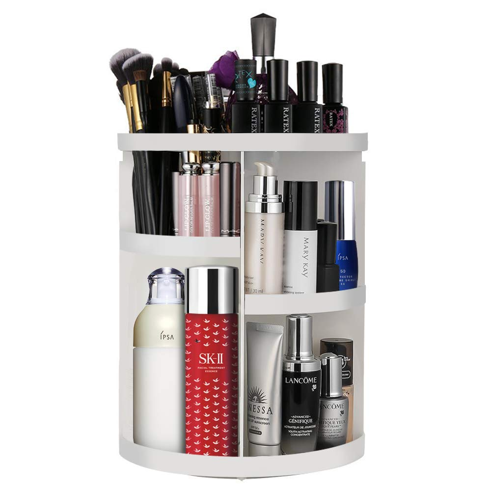Etmury Makeup Organizers and Cosmetic Storage Holder for Bathroom Vanity Countertop 360 Rotating Adjustable Detachable Make Up Accessories Display Shelf, Round White