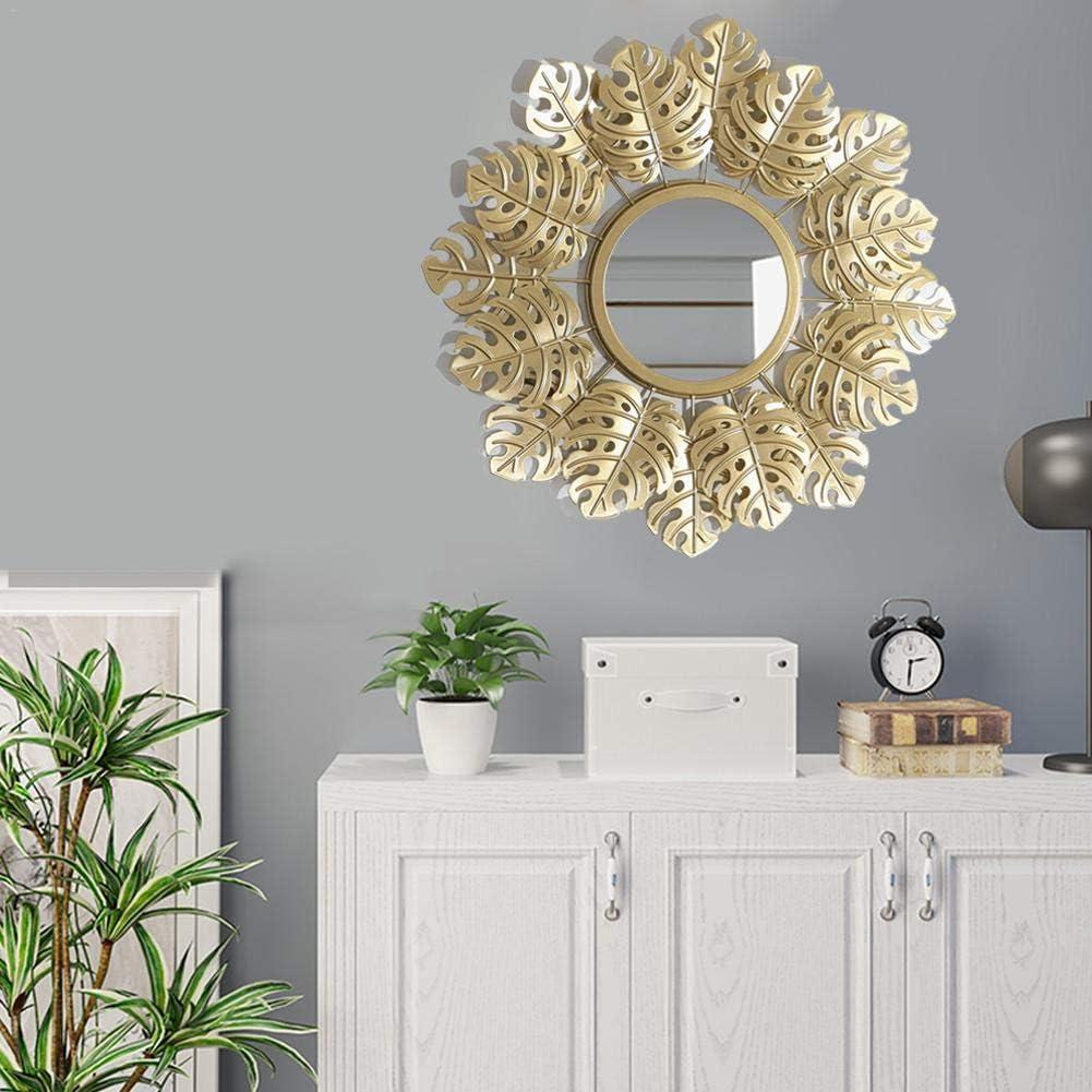 Miroir mural d/écoratif rond dor/é feuille de tortue europ/éenne miroir suspendu bureau maison pendaison de cr/émaill/ère cadeau
