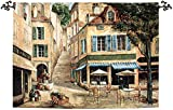 Cafe de La Place French Village Cotton Wall Art Hanging Tapestry 50'' x 70''