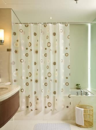 Coffee Circle Polka Dot White PEVA Shower Curtain Waterproof 86 Inches Wide By 78