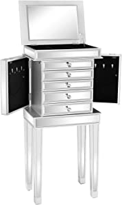 VINGLI Mirrored Jewelry Armoire Standing Jewelry Box Mirrored Dressers for Bedroom Jewelry Chest, Mirror/Silver