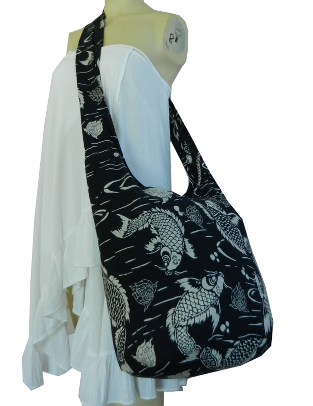 BTP Absolute Black Coy Fish Lotus Sling Bag Crossbody Shoulder Purse Hippie Hobo Thai Gypsy Bohemian Large