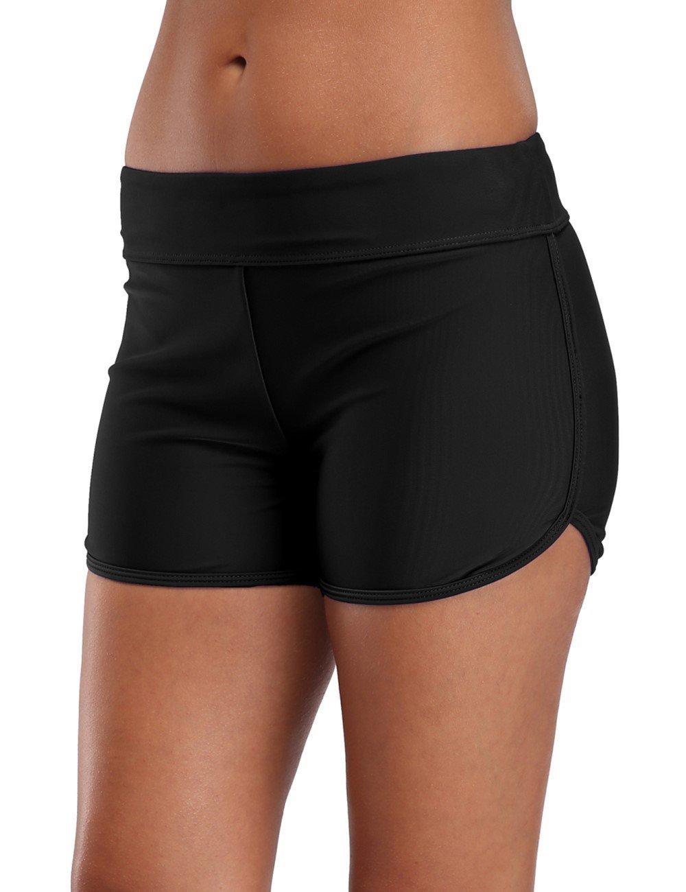 eulo Women's Swim Boyshort Tankini Swimsuit Boardshort Waistband Bikini Bottom Black M