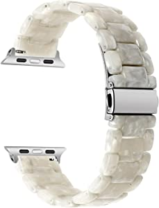 TRUMiRR Watchband Compatible for 38mm 40mm Apple Watch Women, Fashion Resin Watchband Metal Stainless Steel Buckle Strap Bracelet for iWatch SE Apple Watch Series 6 5 4 3 2 1 All Models