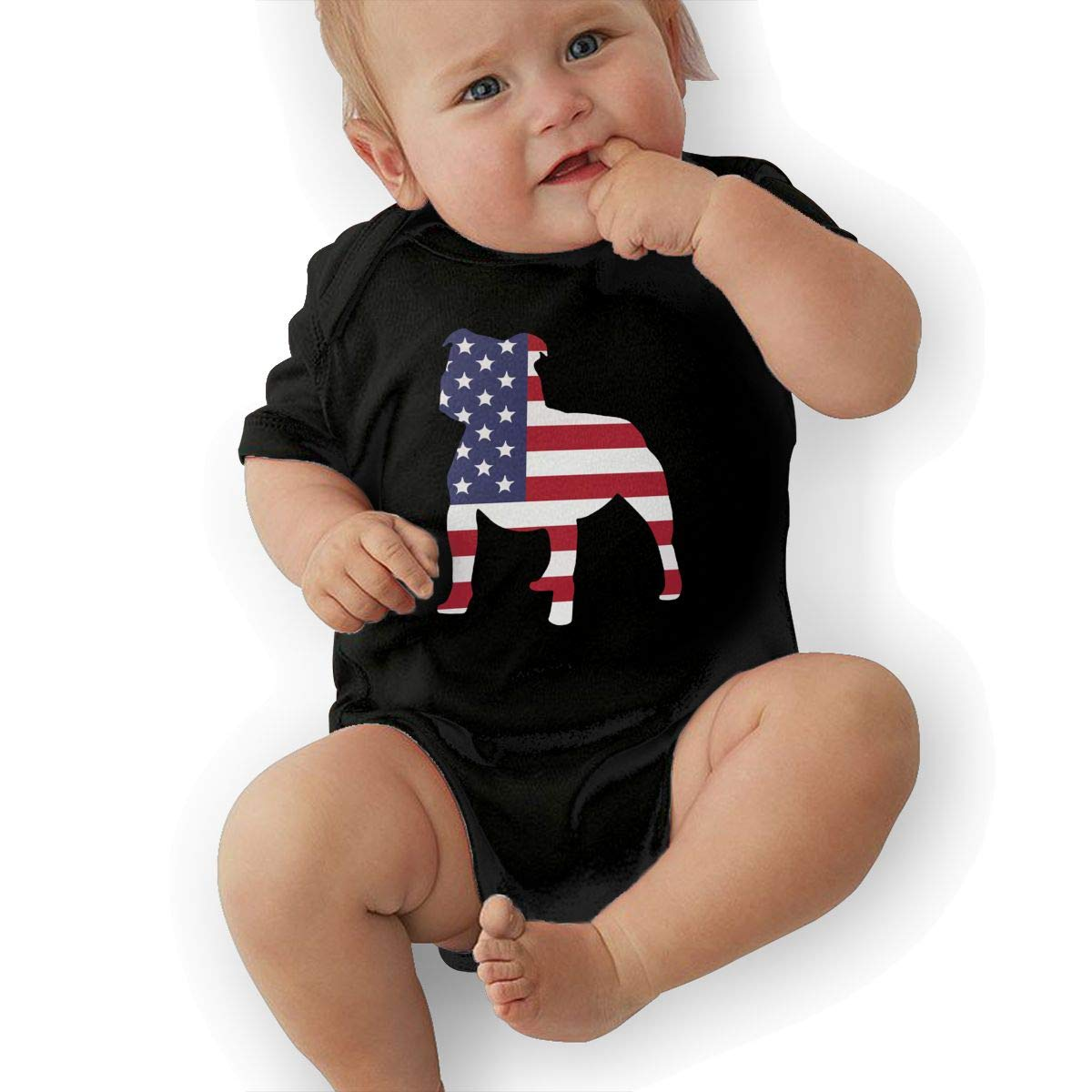U88oi-8 Short Sleeve Cotton Rompers for Unisex Baby Cute Pitbull American Flag Playsuit